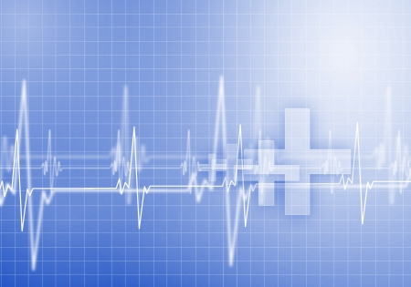 electrocardiograph: Image of heart beat against colour background