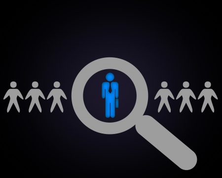 Person with a search symbol in a row Stock Photo - 15204673