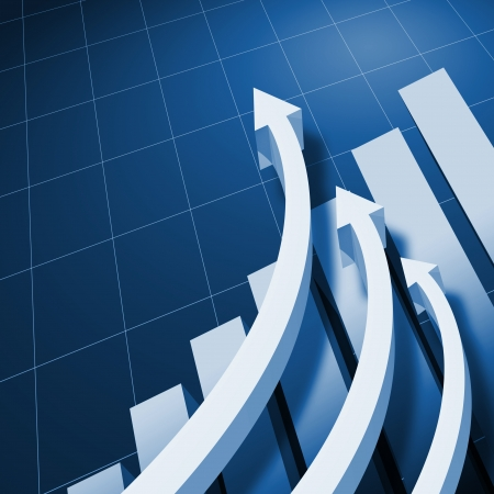 growth: Charts and upward directed arrows against blue  background