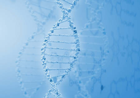 double helix: Image of DNA strand against colour background