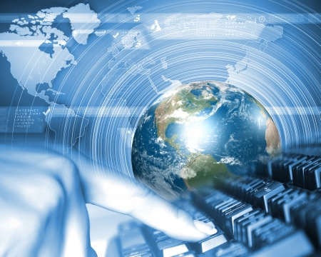 advanced technology: Blue globe on the digital technology background