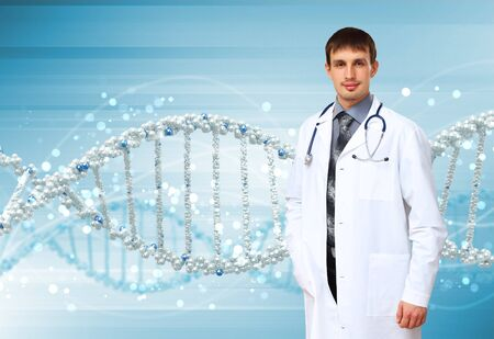Image of DNA strand against colour background Stock Photo - 15186735