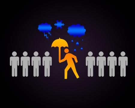 Human figure with an umbrella under rain Stock Photo - 15186213