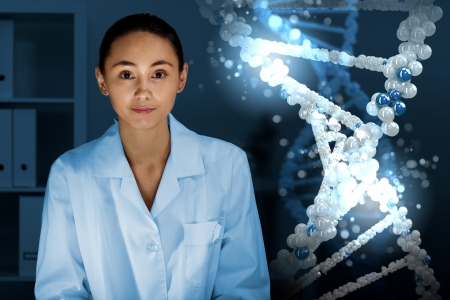 Image of DNA strand against colour background Stock Photo - 15186872