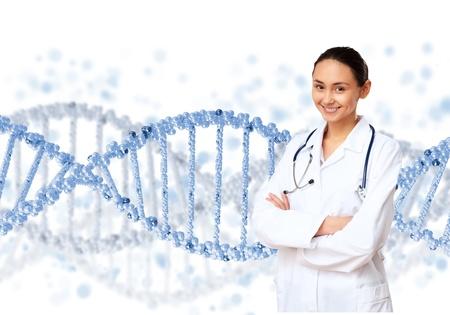 cromosoma: Imagen de la cadena de ADN contra el color de fondo Foto de archivo