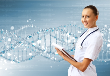 Image of DNA strand against colour background Stock Photo - 15187378