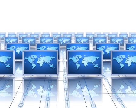 computer network: Computer screens with an image of the world on them