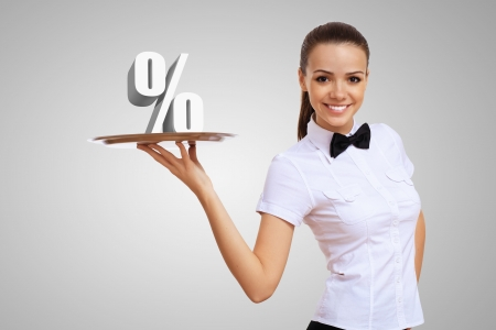 Waitress holding a tray with money on it Stock Photo - 15187087