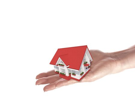 The house with colour roof in human hands Stock Photo - 15187096