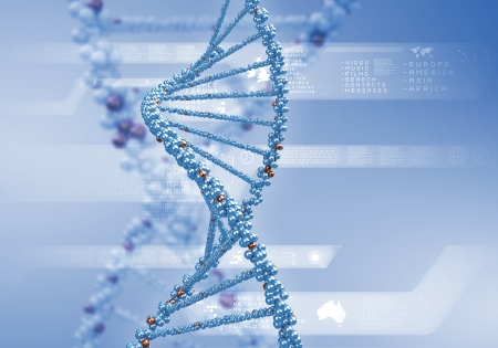 double: Image of DNA strand against colour background