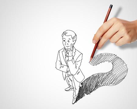 Dessin au crayon avec quesions et les défis dans les affaires