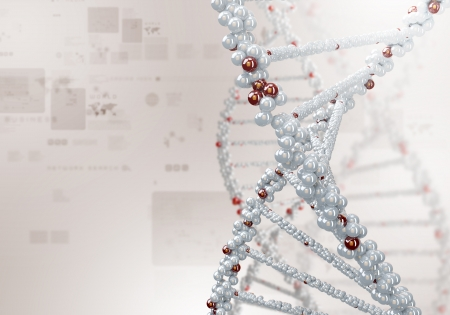 Image of DNA strand against colour background Stock Photo - 15187165