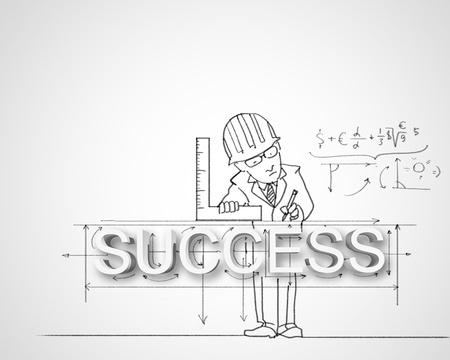 financial leadership: L�piz negro y blanco de dibujo sobre el �xito en los negocios