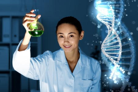 Image of DNA strand against colour background Stock Photo - 14889862
