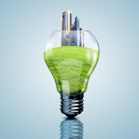 sustentabilidad: Punto de Luz y nuestro planeta en su interior como s�mbolo de la energ�a verde
