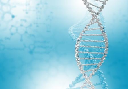 molecula: Imagen de la cadena de ADN contra el color de fondo Foto de archivo