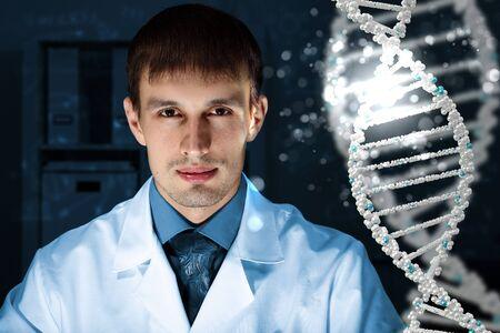 adenine: Image of DNA strand against colour background