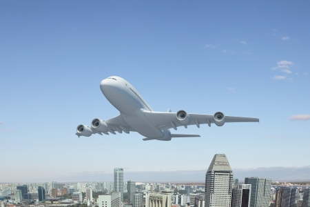 airliner: Image of a white flying passenger plane