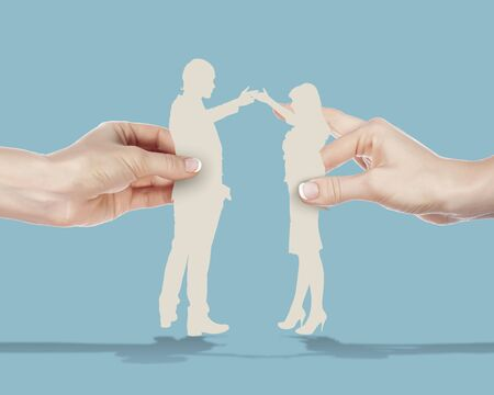 People standing together as symbol of successful partnership photo