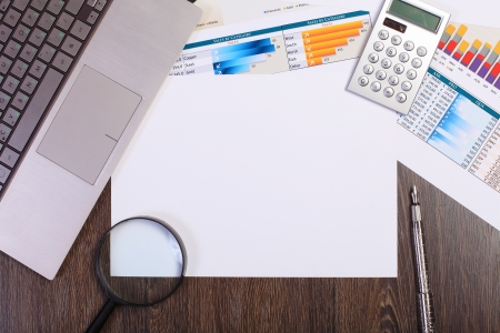 Image of a businessman workplace with papers photo