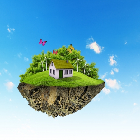 Little fine island planet A piece of land in the air Lawn with house and tree Pathway in the grass Detailed ground in the base Concept of success and happiness, idyllic ecological lifestyle