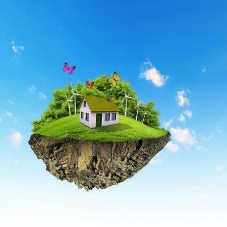Petite plan�te �le fine Un morceau de terre sur la pelouse de l'air avec la maison et Pathway arbre dans le sol l'herbe d�taill�e dans le concept de base de la r�ussite et de bonheur, idyllique mode de vie �cologique Banque d'images