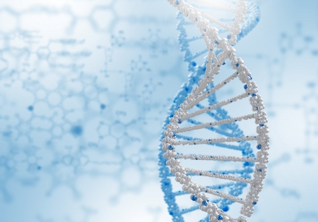 Image of DNA strand against colour background photo
