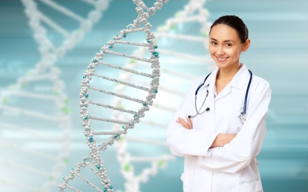 Image of DNA strand against colour background Stock Photo - 14954886