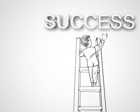 Black and white pencil drawing about success in business photo