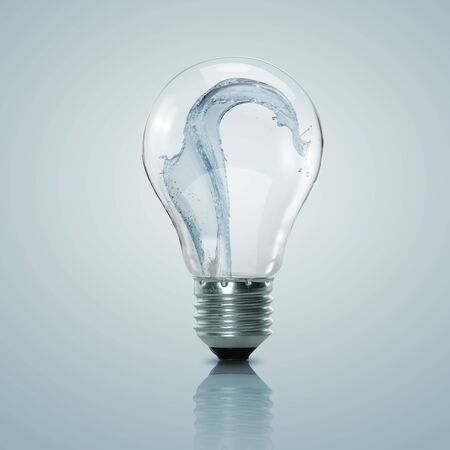 Electric light bulb with clean water inside it Stock Photo - 15215516