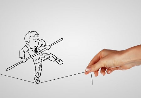 choice concept: Pencil drawing as illustraion of risks and challenges inbusiness