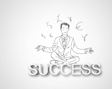 Black and white pencil drawing about success in business Stock Photo - 14975206