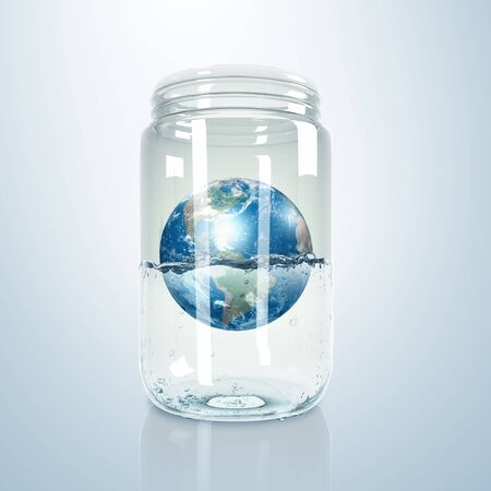 Image of our planet earth inside a glass jar Elements of this image furnished by NASA photo
