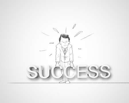 Black and white pencil drawing about success in business Stock Photo - 14975205