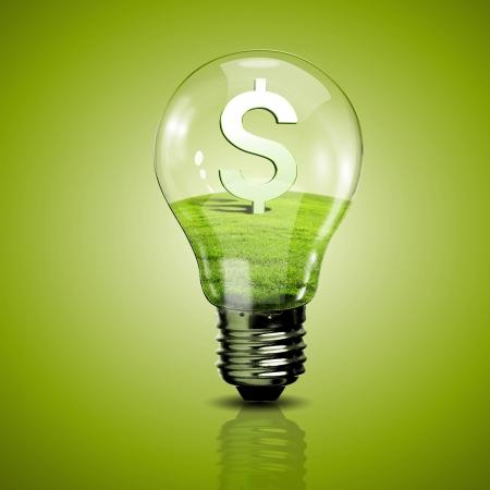 Ampoule �lectrique et le symbole � l'int�rieur comme symbole de l'�nergie verte