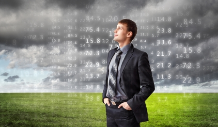 Image of business person with digital symbols Stock Photo - 15008845