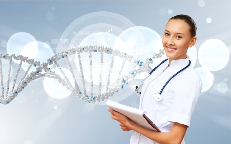 Image of DNA strand against colour background Stock Photo - 15006584