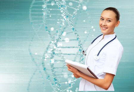 Image of DNA strand against colour background Stock Photo - 15008831