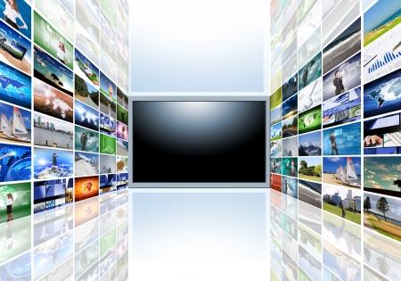 평면 스크린 TV에서 사진 이미지를 TV에 빛나는 빛 베스트 나오고있다 그것의 측면에서 나오는 검은 색 빈 텍스트 영역이 있습니다