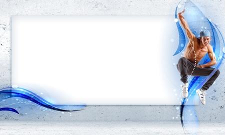 bailarin hombre: hombre joven en una tapa azul hip hop dancing - collage con lugar para el texto