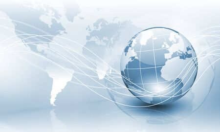 digital globe: Image of light blue planet Earth against technology background