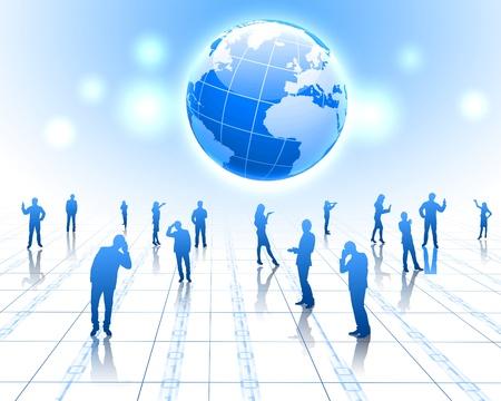 Les figures humaines reli�es entre elles dans le r�seau de communication Banque d'images