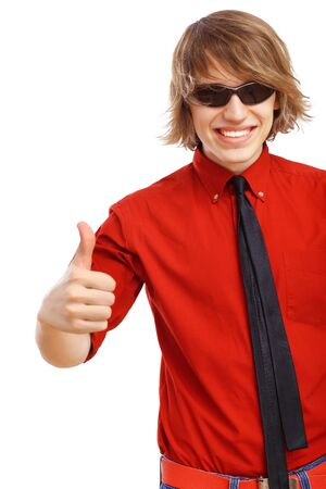 Happy handsome man showing thumbs up and white blank banner  Stock Photo - 15008724
