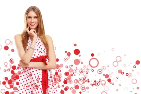 Young blond woman in red dress with red circles around Stock Photo - 15107432