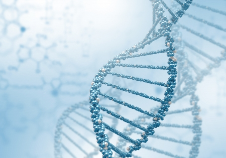 Imagen de la cadena de ADN contra el color de fondo Foto de archivo