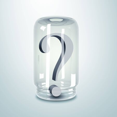 Grey color question mark inside a glass jar Stock Photo - 15106846