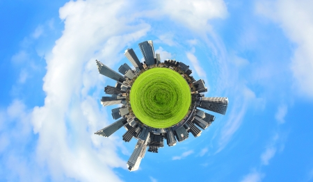 Planet earth with city on it against sky background photo