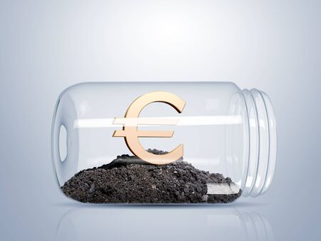 Transparent glass jar with money inside it photo