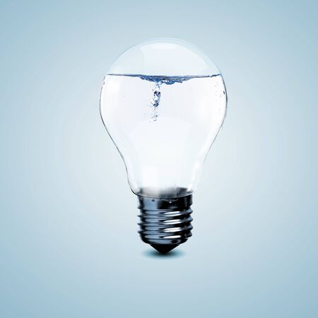 save the sea: Electric light bulb with clean water inside it