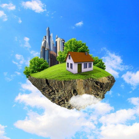 Little fine island   planet  A piece of land in the air  Lawn with house and tree  Pathway in the grass  Detailed ground in the base  Concept of success and happiness, idyllic ecological lifestyle Reklamní fotografie